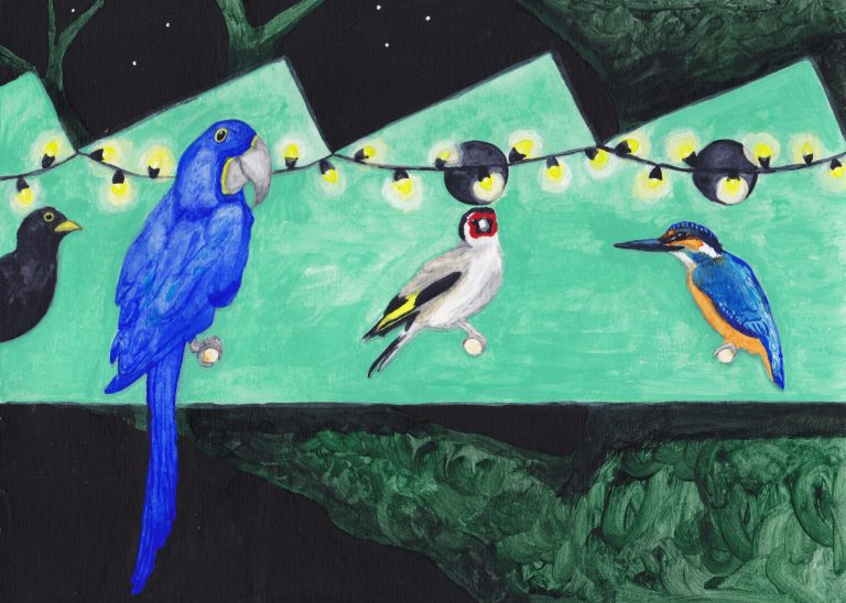 Vreemde vogels. Kerstkaart voor de Gelderlandfabriek